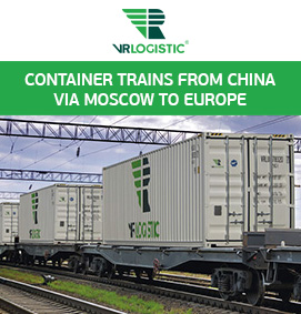container trains from China via Moscow to Europe